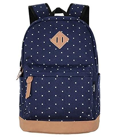 SAMGOO Unisex Leinwand Einfache Rucksäcke Daypack mit Laptopfach Freizeitrucksack Schulrucksack