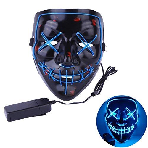 KGAYUC Maske, Leuchtende Maske, LED Maske Blitzmodi Für Halloween Fasching Karneval Party Kostüm Cosplay Dekoration, Kreatives Gesicht, Halloween Prom Atmosphäre Maske, Ghost Dance Maske,A (Bemaltes Gesicht Kostüm)