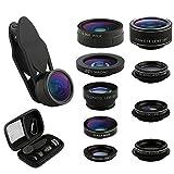 Handy Objektiv Kit 9 in 1, iPhone Objektiv 198°Fisheye Lens 0,36X & 0,63X Weitwinkelobjektiv 15X & 20X Makro 2X Teleobjektiv CPL Clip-On Kamera Adapter für Smartphones