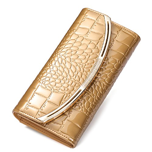 HT Croc Skin Embossed Clutch, Poschette giorno donna Wine Red