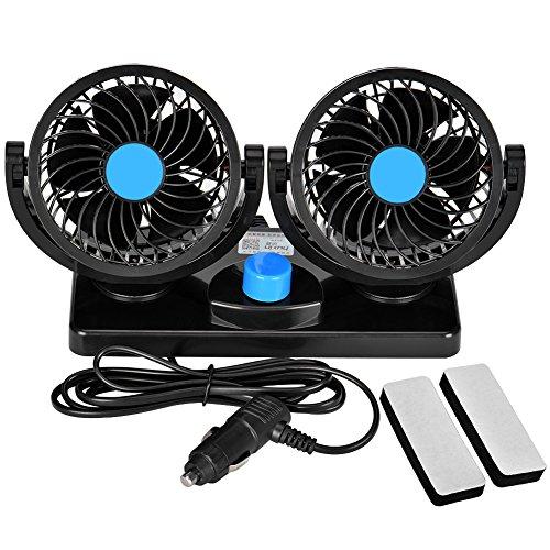 Towinle Auto Ventilator, Auto Kfz Lüfter mit 2 Geschwindigkeiten und 360-Grad-Drehung Doppellüfter Einstellbare Ventilatoren 8W/15W, 12V (Zwei-stufen-klimaanlage)