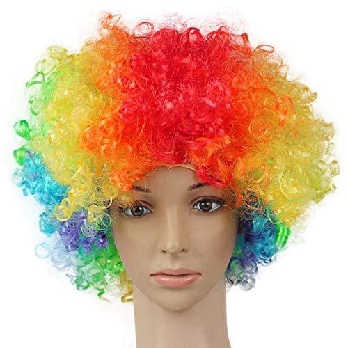 TXIN Flaum Halloween Disko Clown Lockige Perücken Zirkus Kostümfest (mehrfarbig)