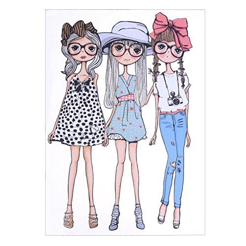 everpert Fashion Mädchen Kleidung Patches DIY Zubehör Advanced Level waschbar Wärmeübertragung (Transfers Eisen Für Auf Stickerei Die)