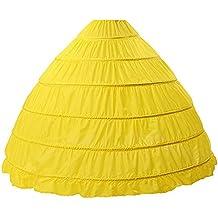 Crinolina Enaguas Mujer Largas para Vestidos de Novia Boda Faldas 6 Aros Hasta el Piso(