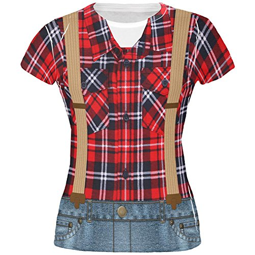Kostüm Halloween Holzfäller über Juniors T Shirt Multi (Frauen Holzfäller Kostüm)