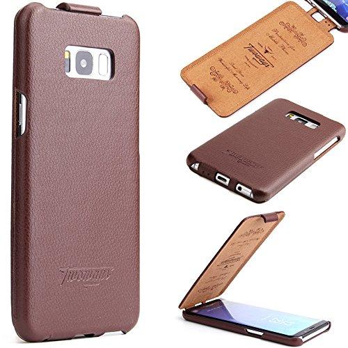 Samsung Galaxy S8 Hülle - ECHTES LEDER HANDGEFERTIGT - bester Schutz Ihres Handys im Flip Cover Design - Etui Case Schale für Ihr Smartphone von TWOWAYS - Handyhülle in Braun (Handy Cover Aus Leder)