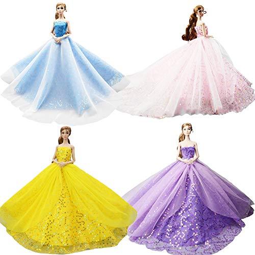 DoCori Puppenkleidung Kleider, Party Kleider für 11,8 Zoll Mädchen Puppe Party Ballkleid Outfit für Puppen wie Barbie Puppe 4 Stück,b (Barbie Puppe Kostüm Für Erwachsene)