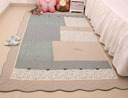 MeMoreCool gamuza de última textil hogar creativo arte hermoso Rural estilo puro algodón acolchado cojines salón/dormitorio, floral Checked nudo Crawling/Sofá alfombras, 63x 83inch, azul 1, 63 inch by 83 inch