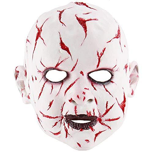 KYX-GAOMOUREN Halloween Bloody Gesicht Ghost Face Doll Maske Latex Horror Maske Kopfbedeckungen