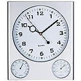 Orologio Silenzioso da muro parete al quarzo Trio in plastica con fondo bianco termometro e igrometro