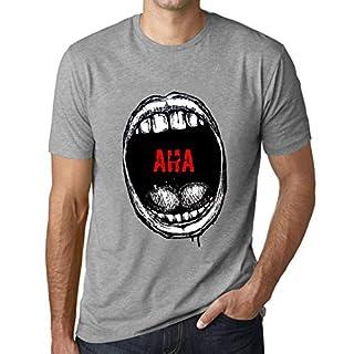 Herren Tee Männer Vintage T shirt Mouth Expressions AHA Grau Meliert