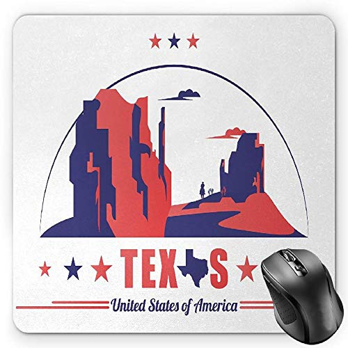 BGLKCS Texas Star Mauspads Mouse Pad, Texas State Map with Cowboy Silhouette among Canyons Desert Design, Standard Size Rectangle Non-Slip Rubber Mousepad, Indigo and Dark Coral