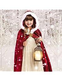 Niños de Navidad de las Niñas de Terciopelo con Capucha Capa del Cabo de Disfraces Cosplay, ❤️ Longra