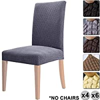 YISUN Polar Fleece Dining Chair Cover, Large Modern High Stretchy Loose Seat Back Decorative Protective Slipcovers Machine Washable for 4/6 PCs Dining Room Chairs Set (Grey,6 PCS/Packet)