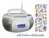 Denver TCP Kinder Stereoanlage Weiß CD-Player Radio Kassettendeck Boombox inkl. Einhorn Sticker