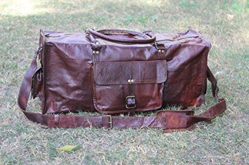 """True Grit Leather- """"Rugged"""" da uomo in pelle marrone Vintage Borsa da viaggio borsa trolley (24pollici) brown 61 cm"""