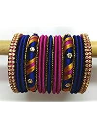 Krisha Silk Thread Jewellery Silk Thread Bangle Set For Women (2.4)