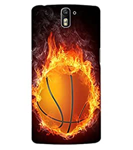 ColourCraft Flaming BasketBall Design Back Case Cover for OnePlus One