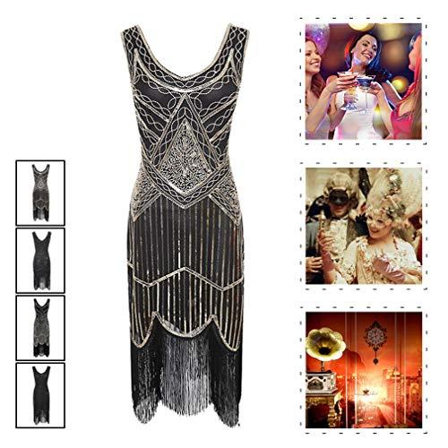 Flapper Kostüm Kleid Fringe - YIXIJIE 1920er Jahre Kleider für Frauen, Flapper Tassel Dress - Pailletten Fringe für Gatsby Party/Party Prom/Kostüm verschönert,A,XL