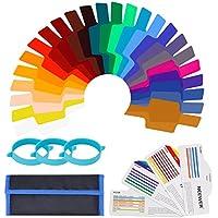 Neewer 24 Piezas Cámara Flash Speedlite Kit de Filtro de Gel de Color de Iluminación - Lámina de Corrección de Color Transparente Láminas de Plástico de Película con 3 Bandas de Accesorio
