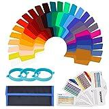 Neewer Jeu de 24 Kit de Filtre Gel de Couleur pour Flash, Filtre de Correction de Couleur Transparent Film Plastique avec 3 Bandes d'Attachement pour Flash Strobe Photo Studio