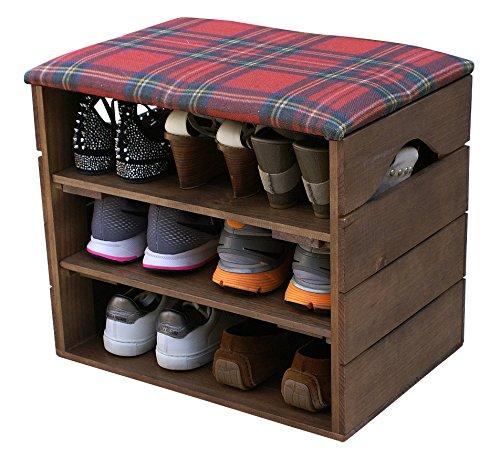 Liza line scarpiera (noce marrone) - ottima, organizer per scarpe in legno vintage, deposito, armadietto, panca di sostegno, con seduta morbida, adatta per l'ingresso e il corridoio. legno nordico solido - 51 x 45 x 36 cm (rosso scozia)