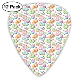 Guitar Picks - Abstract Art Colorful Designs,Candy Shop Inspired Whipped Cream Topped Cupcakes Swirl Lollipops Macarons Donuts,Unique Guitar Gift,For Bass Electric & Acoustic Guitars-12 Pack