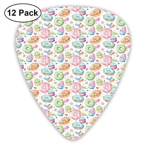 Guitar Picks - Abstract Art Colorful Designs,Candy Shop Inspired Whipped Cream Topped Cupcakes Swirl Lollipops Macarons Donuts,Unique Guitar Gift,For Bass Electric & Acoustic Guitars-12 Pack -