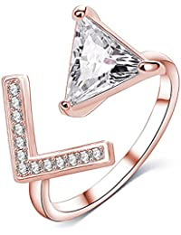 AllThingsCharmed Lumini Diamos AD Arrows American Diamond Rose Gold Adjustable Ring With Luxury Gift Box For Women