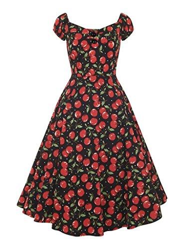 collectif Vintage Femmes Robe de Poupée 1950de Dolores Cerise Polka Dot UK 10 Noir - Noir/rouge