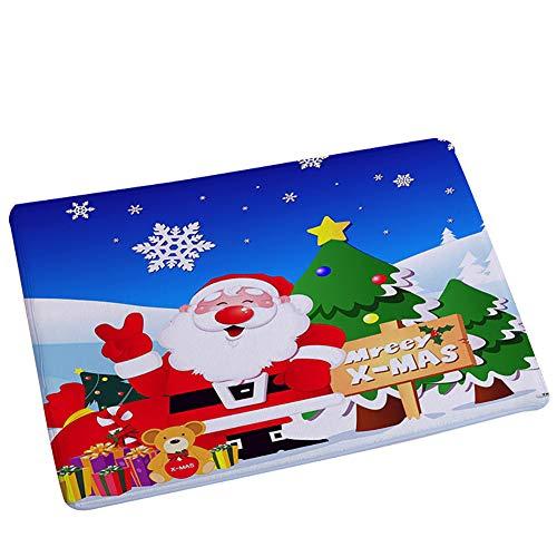 MoGist Navidad baño Alfombra Azul Filas Navidad patrón