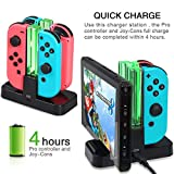 Leoie Portable Joy-Con Charging Dock 4 in 1 USB Charging Dock Stand LED Indication for Nintend Switch Controller Charger Gamepad