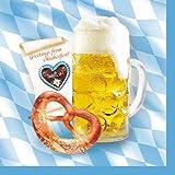 Lot de 100 serviettes en papier-chope bRETZEL 33 x 33 cm - 2LB-sacoche bAYRISCH aux couleurs de l'équipe de football fête de la bière (oKTOBERFEST)