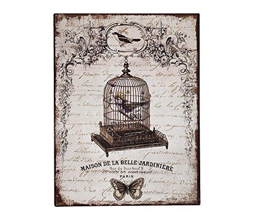 Blechschild Vogelkäfig Paris Dekoschild Nostalgie Vintage 33x25cm (Krone Vogelkäfig)