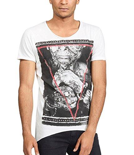 trueprodigy Casual Herren Marken T-Shirt mit Aufdruck, Oberteil Cool und Stylisch mit Rundhals (Kurzarm & Slim Fit), Shirt für Männer Bedruckt, Größe:L, Farben:Offwhite