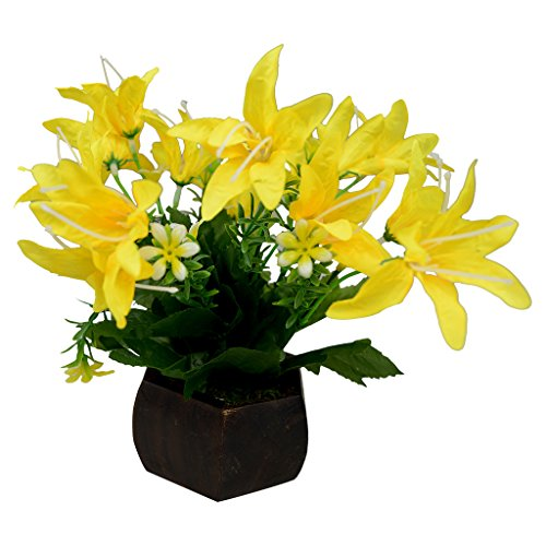 Thefancymart Desktop artificial Lilly Flower arrangement with wood pot (8 inchs/20 cms)  available at amazon for Rs.275