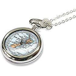 1983 New Zealand map pocket watch necklace - map jewelry - gift for her - mother - sister