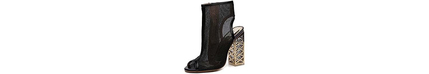 Onfly Cool Boots 12cm Crystal Chunkly Heel Mesh Dress Shoes Mujeres Sexy Peep Toe Slingbacks Net Yarn Zipper OL... -
