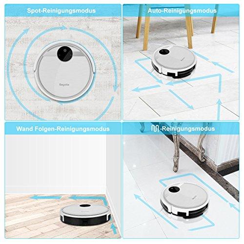 Staubsauger Roboter,Bagotte 3-in-1 Saugroboter mit Wischfunktion und Bürsten,Selbstaufladung Gyroskop Navigation Staubsaug Robot für Tierhaare und Allergene, Hartböden und Teppiche