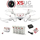 Syma X5UC RC Drone Quadcopter 2.4G 4 Channel 6-Axis Gyro - Hover Function,Flip Stunts,Headless Mode, HD Camera,Barometer Set Height including 4PCS 3.7V 500mAh Lipo Battery and 4 in 1 charger