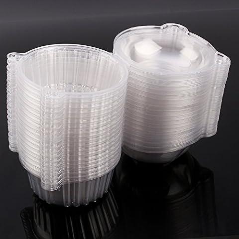 100pcs/200pcs Single Clear Plastic Cupcake Pod Cake Muffin Box, Mini Cat Head Cupcake Container, 112mm*80mm