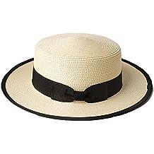 Sombrero Cordobés Verano Hombres Chicos Mujeres Paja Contraste Canotier  Sombrero ... b6b07a360d2