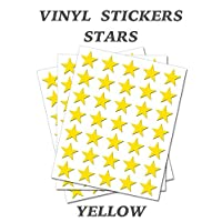 200 Yellow Stars - Removable Self Adhesive Waterproof Durable Vinyl Stickers - Digitally Cut to The Sticker Shape - Size 38mm