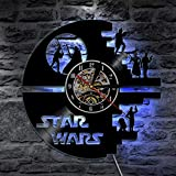 QIKUO Horloge Murale Disque Vinyle LED Star Wars Star Wars avec Télécommande Backlight Vintage Handmade Home Decor Art,Black