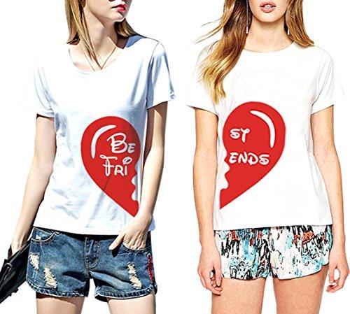 *Best Friends T-shirt 2 2erSet Damen Sommer Tops Herz Aufdruck Mädchen Locker Kurzarm (BE-L+ST-M)*