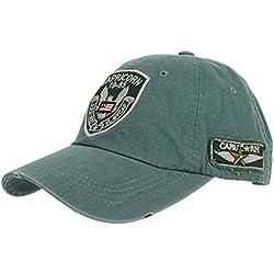 WITHMOONS Gorras de béisbol gorra de Trucker sombrero de Vintage Baseball Cap Eagle Capricorn Hat Destressed CR1012 (Green)