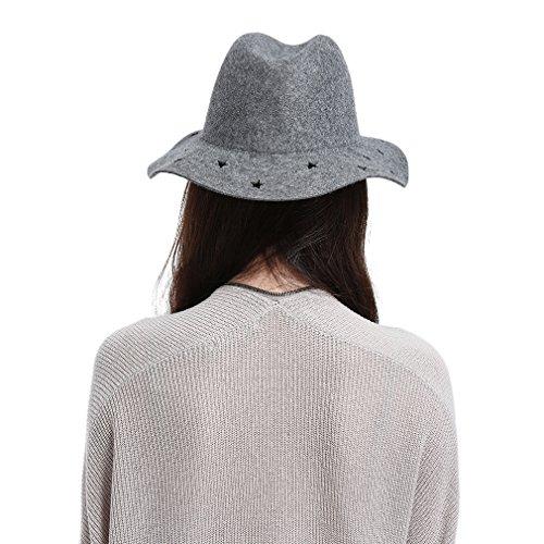 GEMVIE Chapeau Feutre Femme Fedora Trilby Chapeau Classique Large Bord Gris