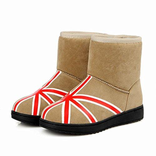 MissSaSa Donna Stivaletti col Tacco Basso Inverno Boots albicocche