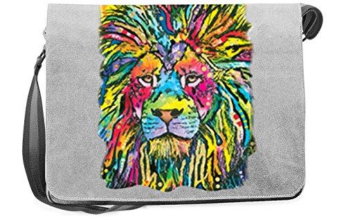 Löwen Motiv Canvas Tasche - Neon Tigermotiv Canvas Umhängetasche: Lion Good - Freizeittasche Katze Kunstdruck