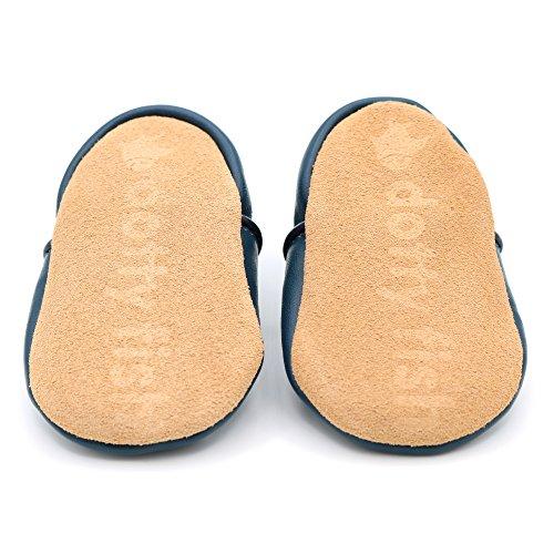 Dotty Fish - Chaussures cuir souple bébé et bambin - Garçons et filles - Étoilé Bleu avec étoile blanche